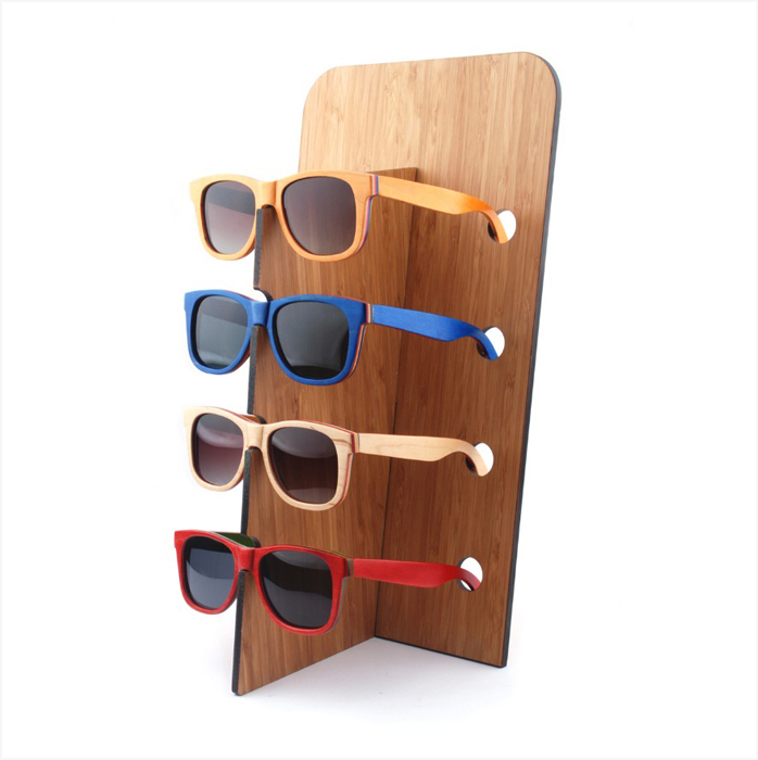 wooden sunglasses rack